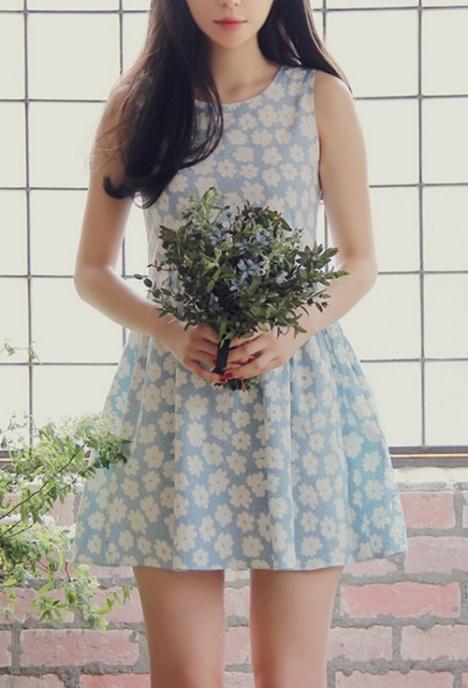 花朵,连衣裙,背心裙,无袖,高腰