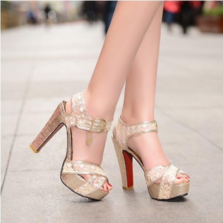2014夏季新款蕾丝网纱防水台一字扣高跟鞋粗跟女凉鞋