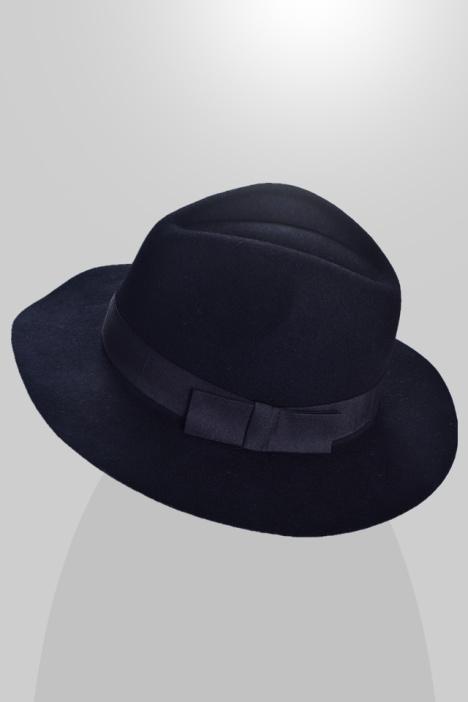 英伦羊毛呢蝴蝶结宽檐爵士礼帽子