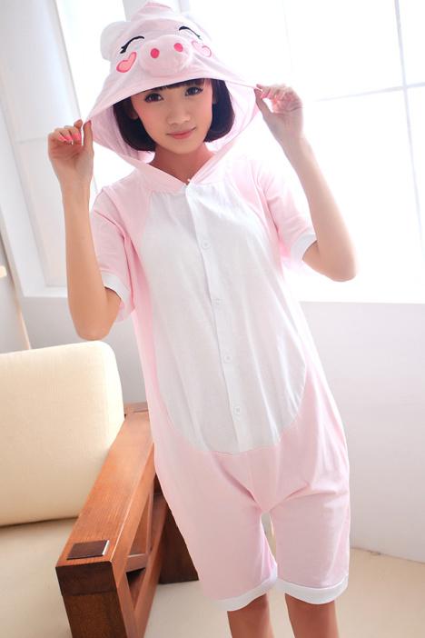 夏季卡通动物连体睡衣短袖男女纯棉可爱情侣睡衣粉猪猪家居服大码