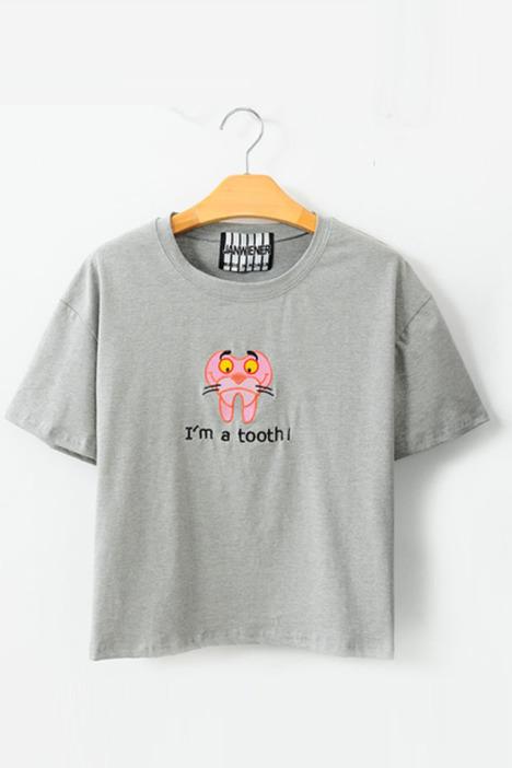 可爱动物刺绣短袖t恤