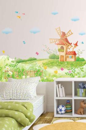 家居房间装饰墙纸贴画田园风车$15.8-培训学校课桌椅搭配图片 培训