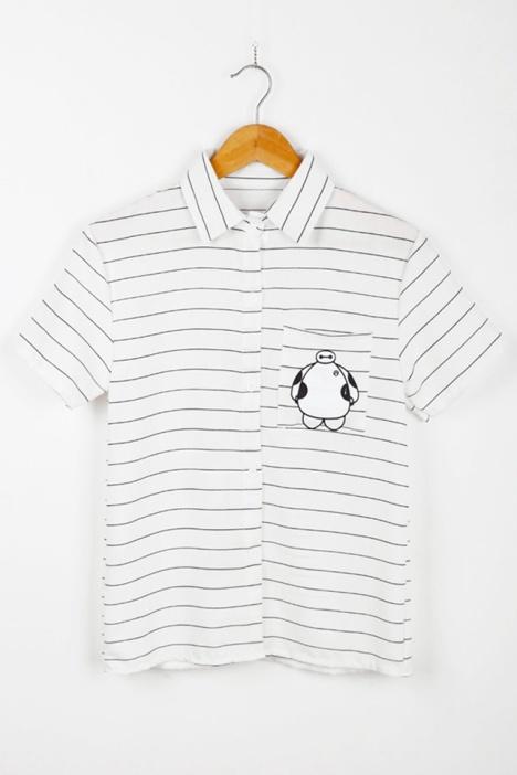 韩版可爱条纹卡通衬衫
