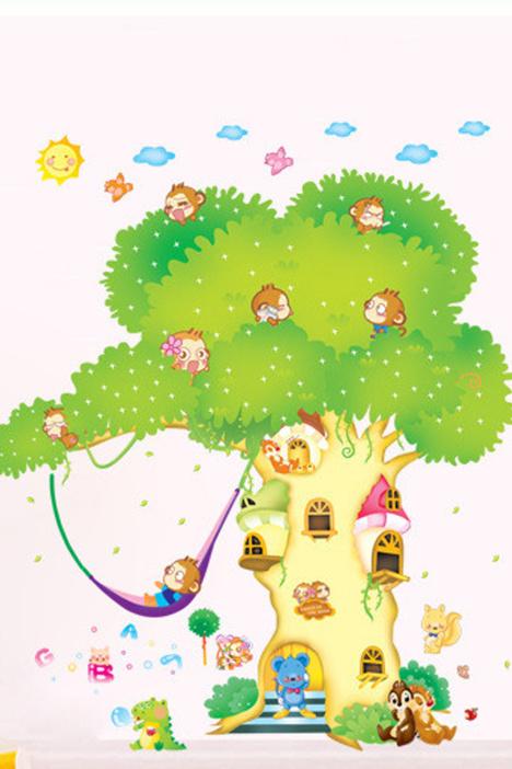 卡通动物大树墙贴画