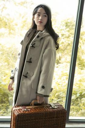 英伦小清新牛角扣大衣女学院风连帽中长款毛呢外套女秋冬新款呢子$189.0图片