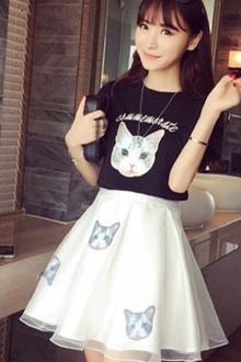 时尚连衣裙套装2017夏季新款韩版可爱显瘦小清新两件套短裙$42.9-
