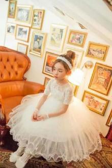 表演服蕾丝网纱公主裙儿童礼服蓬蓬裙$108.5-手绘抽褶白色其它风