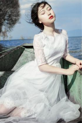 韩国蕾丝超仙女小清新学生公主高腰连衣裙大摆海边度假沙滩长裙夏