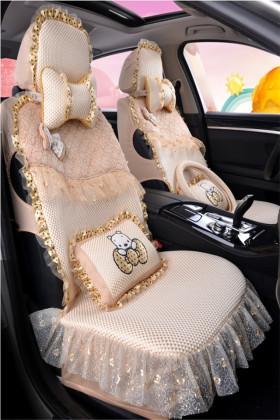 汽车坐垫新款蕾丝卡通可爱四季通用五座通用全包座套