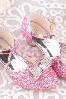 女童公主鞋亮晶晶高跟拉丁舞鞋4-11岁小孩儿童金色时尚单鞋子$71.