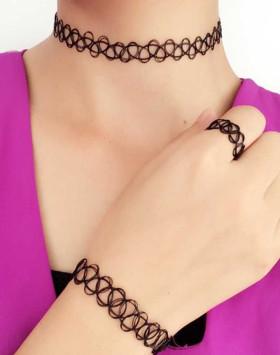 复古镂空纹身鱼线弹力项链手链戒指女锁骨链