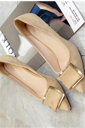 252高跟鞋细跟浅口中跟低跟单鞋女5cm百搭韩版性感$58.8-冬季厚底