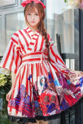 日系软妹条纹和风洛丽塔大正风羽织连衣裙lolita洋装公主裙