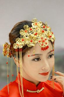 复古新娘古装头饰结婚秀禾服中式民族风红色发饰套装婚礼饰品包邮$图片