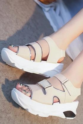 夏季罗马凉鞋女露趾鞋坡跟凉鞋魔术贴松糕厚底女学生鞋高跟鞋女鞋$