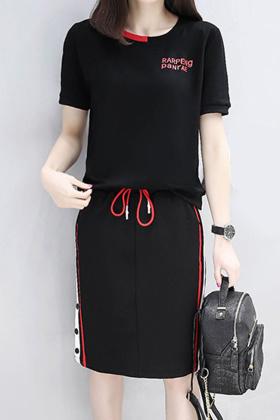 2017夏季韩版新款时尚套装女大码显瘦卫衣短裙两件套裙子套装$88.0