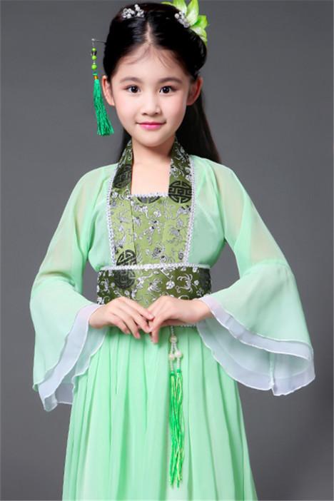 儿童古装小七仙女公主裙古筝表演服古代唐装汉服贵妃服小女孩古装图片