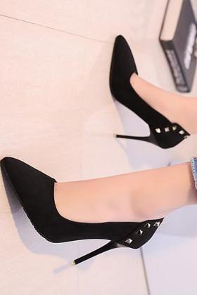2017欧美10cm尖头高跟鞋女秋季细跟中跟浅口性感黑色单鞋$35.0-高