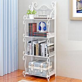 欧式创意铁艺置物架落地客厅卧室阳台简易铁艺书架花架储物架架子