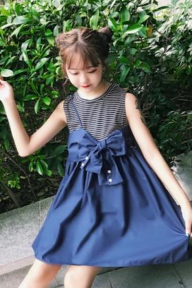 夏装女装日系软妹学院风少女可爱蝴蝶结娃娃裙中长背心连衣裙