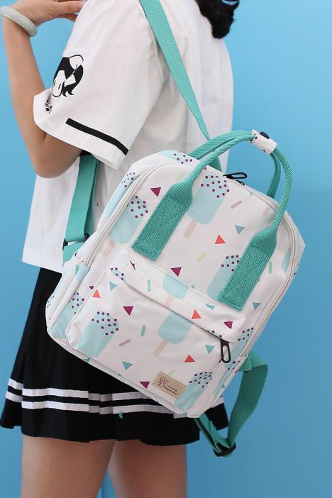 双肩包女韩版百搭背包女小清新时尚雪糕小可爱书包女学生校园