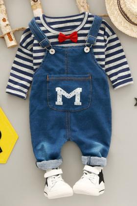 童装秋装小童男童婴幼儿小宝宝儿童牛仔背带裤+长袖t恤休闲套装$46.9