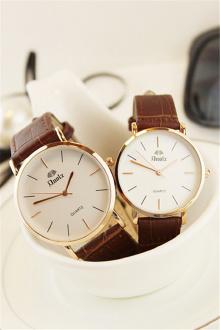 韩版手表男女学生韩版简约防水超薄男女表皮带石英表情侣手表一对$47.6图片