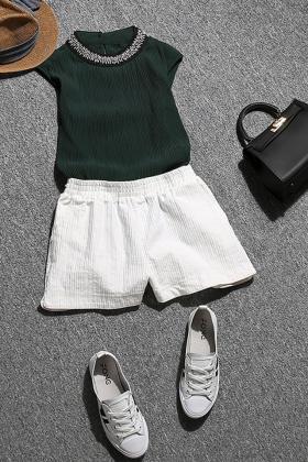 领百褶钉珠无袖雪纺衫高腰显瘦A字阔腿短裤套装女夏$72.0-a字裤短