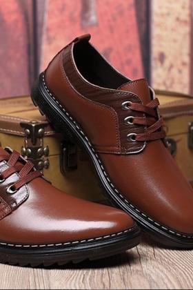 商务皮鞋男英伦青年鞋子男冬季加绒保暖棉鞋$114.0-男士秋季皮鞋
