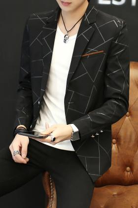 秋季男士外套休闲小西装韩版修身款小西服男装青年春秋装单西上衣$