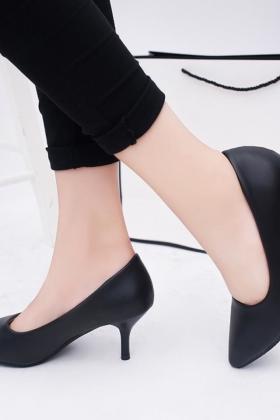 低跟单鞋女尖头细跟5cm高跟鞋7厘米黑色浅口正装职业百搭工作$88.