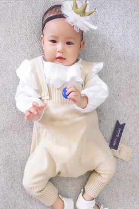 秋季男女童杏色小清新背带裤新生女婴儿秋装0-4个月男宝宝$62.8