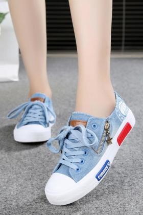牛仔帆布鞋春韩版少女休闲板鞋透气低帮大童中学生平底女生球鞋