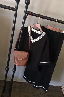 领针织衫上衣+阔腿裤九分裤两件套$79-京东商城女装套装裙