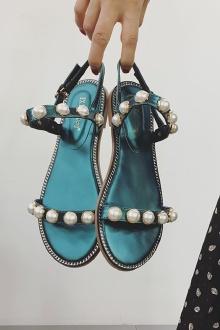 夏季新款平底凉鞋女韩版百搭学生波西米亚串珠一字扣凉鞋$78.4-意尔