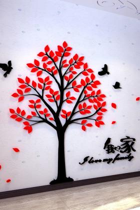 树3d立体墙贴客厅卧室玄关过道温馨创意装饰贴画自粘遮挡风景山