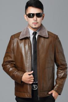 中年男士真皮皮衣轻奢时尚毛领爸爸装男新品冬装短款翻领真皮夹克$