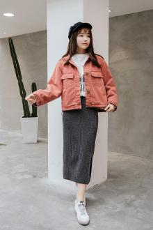 外套显瘦可拆卸真毛领保暖棉衣$168.7-毛绒牛仔棉衣 2017春季新款图片