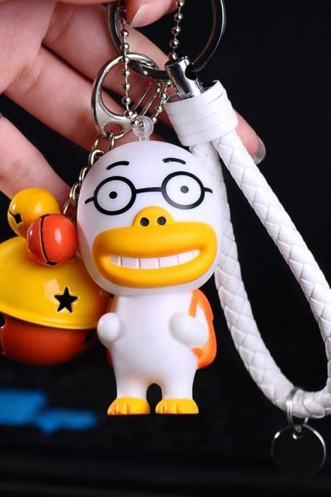 创意爆款礼品卡通大嘴鸭子汽车钥匙扣可爱小鸭子情侣挂件男女礼物