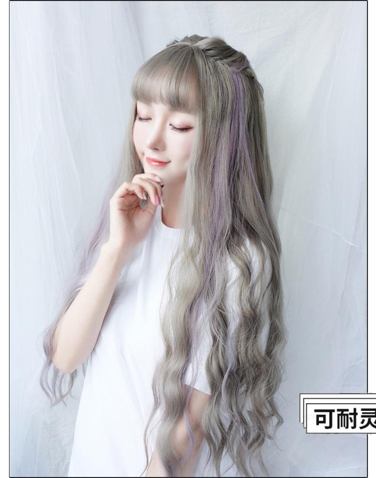 假发女长卷发水波纹大波浪发套空气刘海网红长发甜美可爱中长卷发