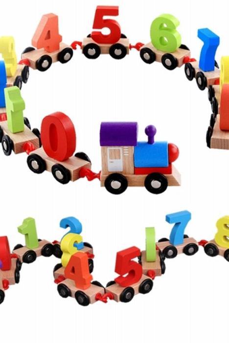 幼儿童木质数字小火车男女孩早教益智木制拼装拖拉智力积木玩具车