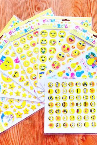 儿童卡通防水幼儿园奖励贴纸表情笑脸立体贴泡泡贴韩版贴画