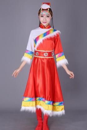 女装藏族舞蹈服装冬季新款藏族演出服装民族舞蹈表演服长款水袖