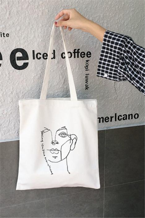 CHIC 韩国 文艺简约线条ins款素描图案帆布袋女百搭小清新单肩包价格
