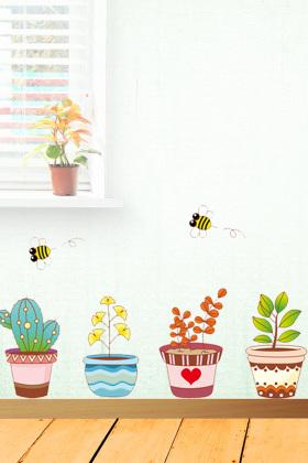 【简一】田园花盆墙贴画