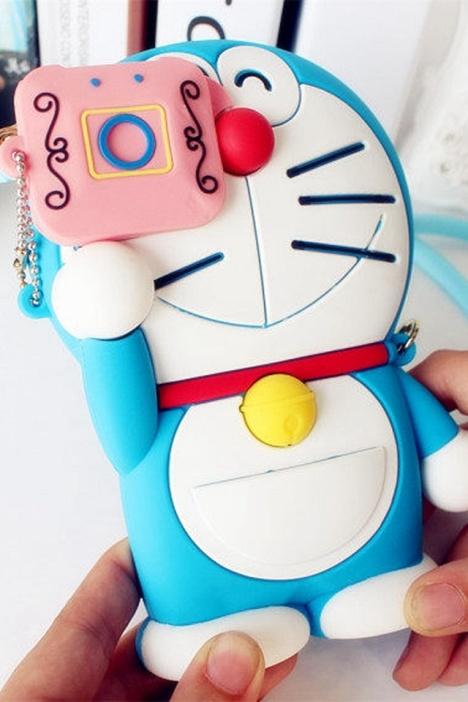 卡通可爱蓝胖子硅胶手机保护套