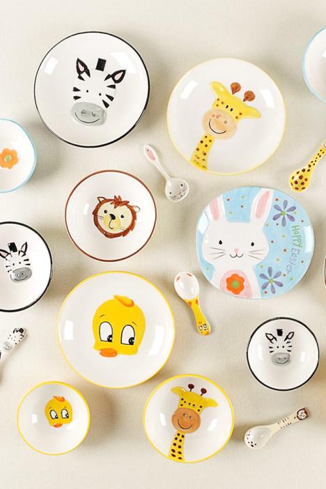 手绘可爱动物陶瓷套装