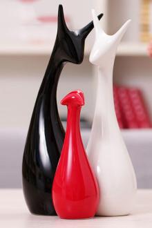 家居饰品三口之家创意摆件工艺品结婚礼物陶瓷客厅装饰$19.6-摆件家图片