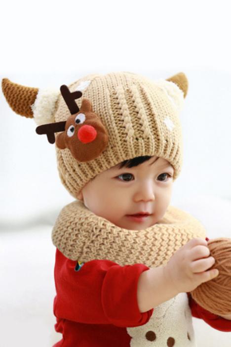 韩版可爱恶魔牛角儿童毛绒帽