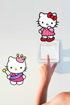 【简一】可爱叮当kitty猫开关贴 幼儿园儿童房女孩房墙贴画
